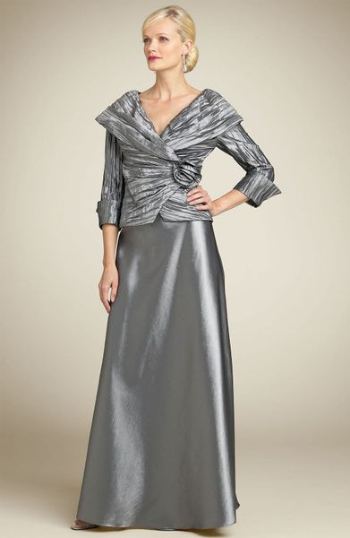 Cachet crinkled taffeta top amp full skirt set in gray gunmetal lyst