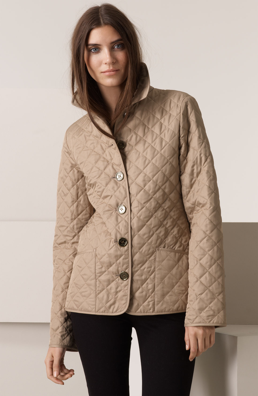 lyst burberry brit diamond quilted jacket in natural. Black Bedroom Furniture Sets. Home Design Ideas