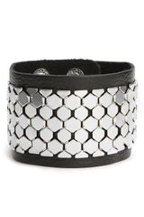 Cara Accessories Leather & Metal Cuff - Lyst