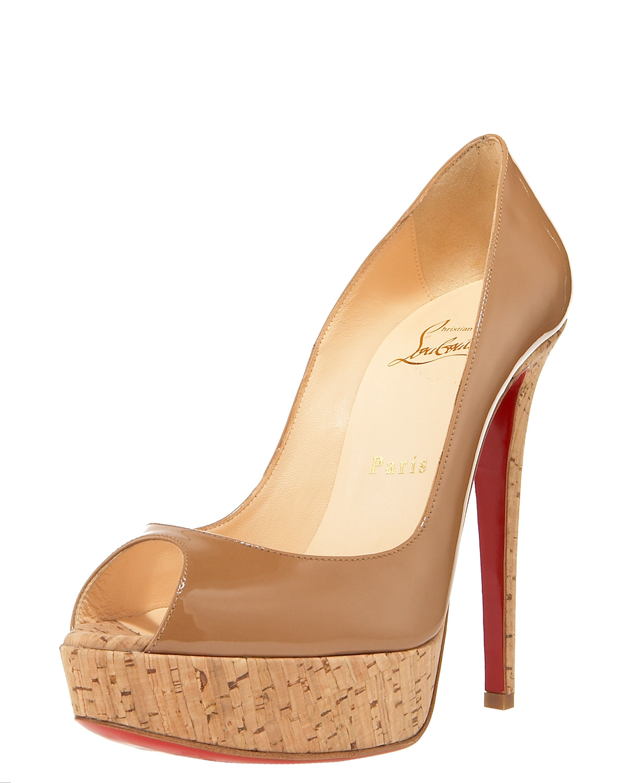 mens red spiked louboutins - christian louboutin platform pumps Brown cork heels | The Little ...