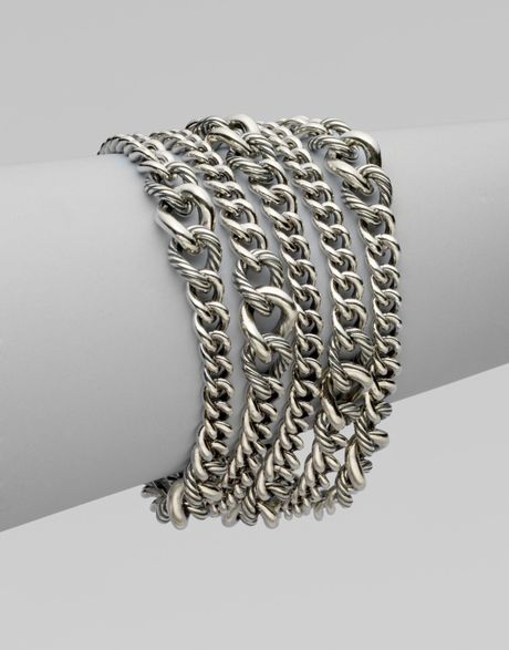 David Yurman Multi Row Curb Chain Bracelet In Silver Lyst