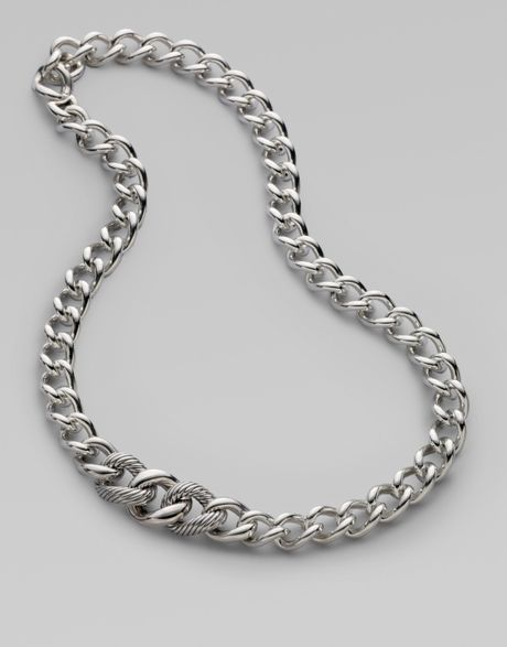 David Yurman Sterling Silver Curb Chain Necklace in Silver