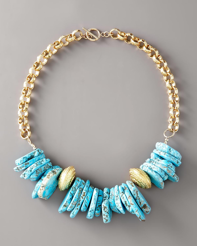 Devon Leigh Turquoise Beaded Chain Necklace DhRhvtK
