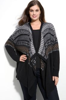 DKNY Fair Isle Cardigan (plus) - Lyst