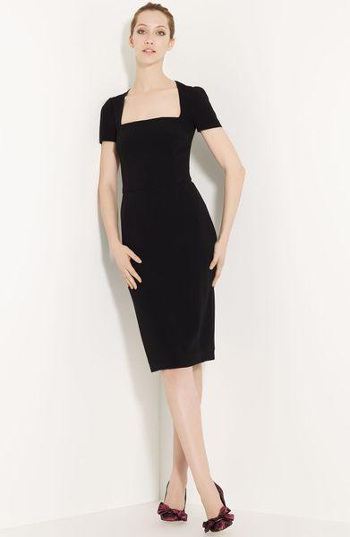 Dolce Amp Gabbana Square Neck Dress In Black Lyst