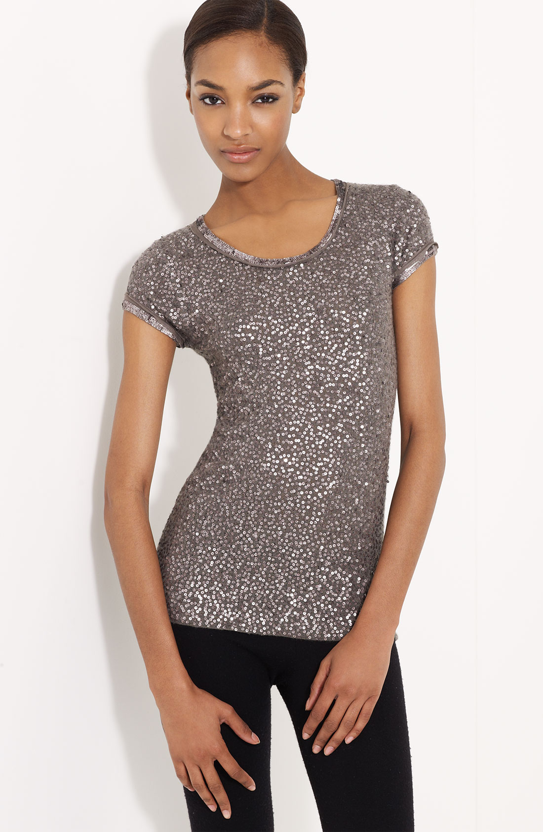 donna karan new york collection sequin cashmere tee in. Black Bedroom Furniture Sets. Home Design Ideas
