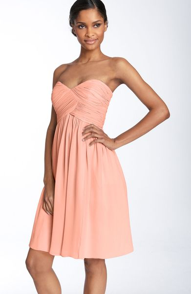 Donna Morgan Strapless Silk Chiffon Dress in Pink (peach fuzz) - Lyst
