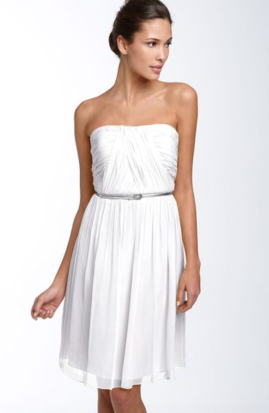 Donna Morgan Belted Chiffon Dress in White - Lyst