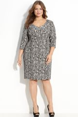 Donna Ricco Zebra Print Dress (plus) - Lyst