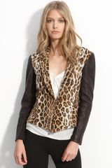 Elizabeth And James Leather Sleeve Leopard Print Faux Fur Blazer - Lyst