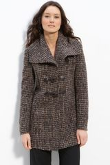 Ellen Tracy Toggle Tweed Wool Blend Coat - Lyst
