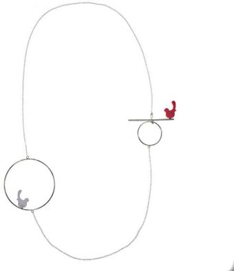 Emma Guest Jewellery Silver Bird Necklace - Medium - Red & White - Lyst