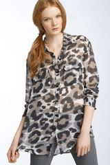 Equipment Signature Tomcat Print Chiffon Blouse - Lyst