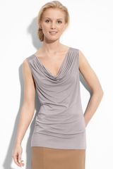 Halogen Satin Trim Drape Neck Top - Lyst