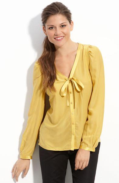 Yellow Tie Neck Blouse 86