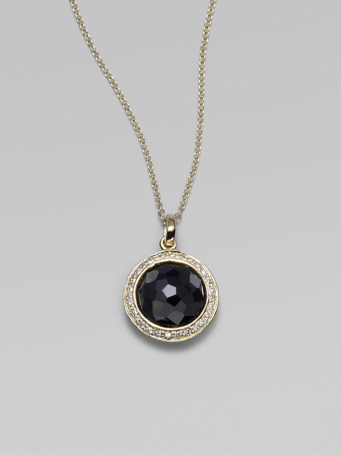 Lyst ippolita black onyx diamond 18k yellow gold necklace in black gallery aloadofball Images