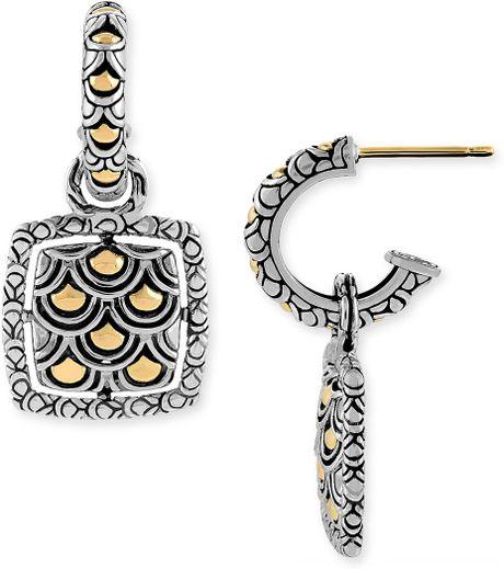John hardy naga square earrings in silver two tone lyst for John hardy jewelry earrings