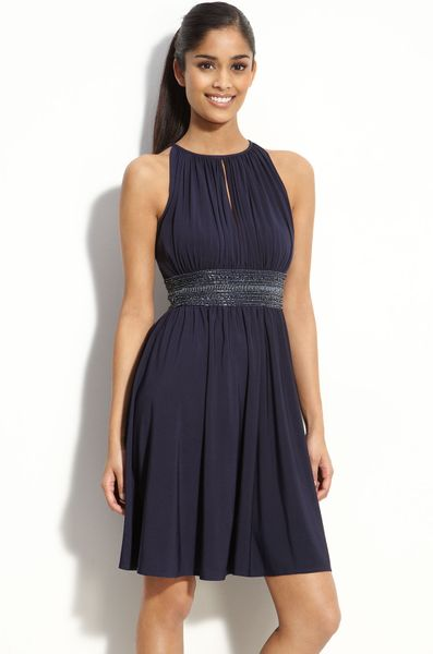 Js Boutique Cutaway Shoulder Beaded Jersey Dress in Blue (navy) - Lyst