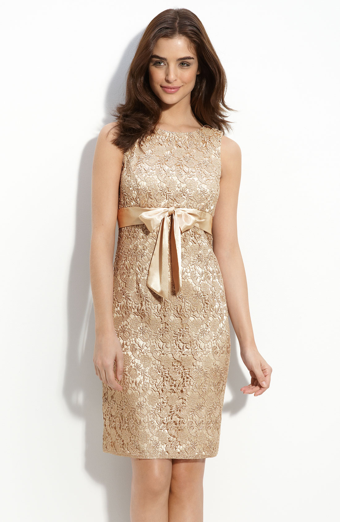 Js Collections Lace Sheath Dress In Gold Champagne Lyst