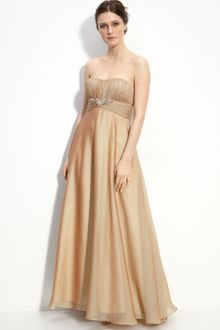 Js Collections Strapless Cationic Chiffon Gown - Lyst