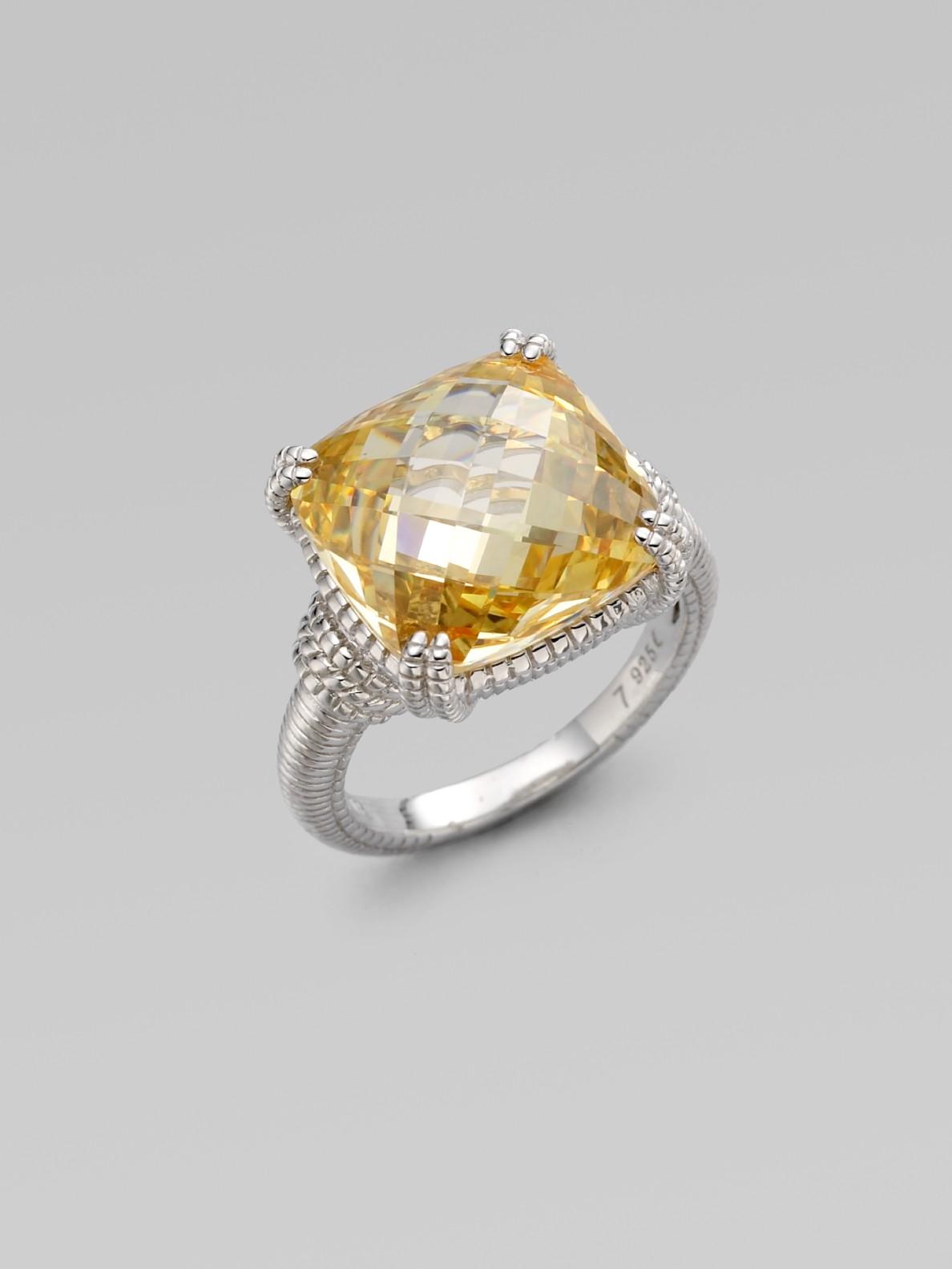 Judith Ripka Canary Crystal Sterling Silver Cushion Stone