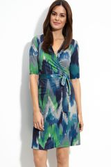 Komarov Print Jersey Wrap Dress - Lyst