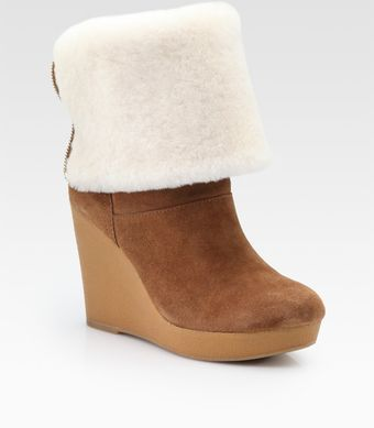 Kors By Michael Kors Horwich Sport Suede and Shearling Wedge Ankle Boots - Lyst