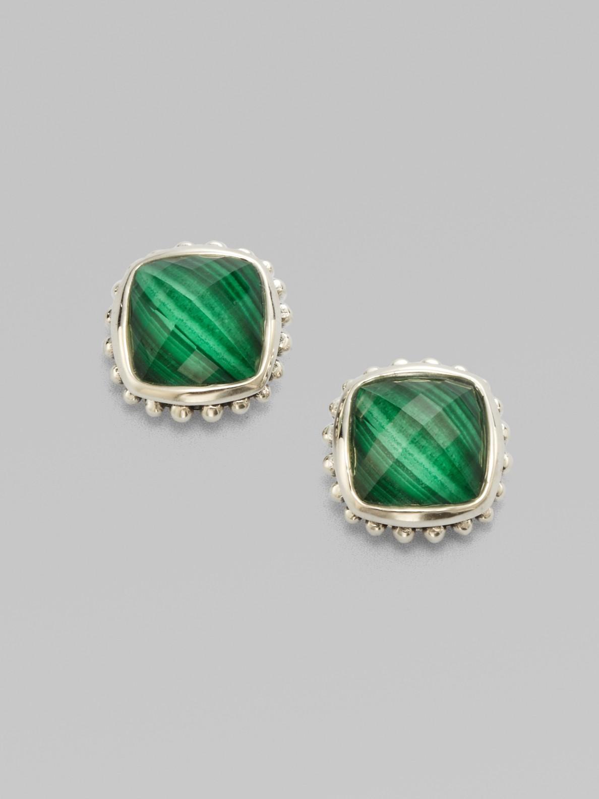 Lagos Sterling Silver Malachite Stud Earrings In Green Lyst