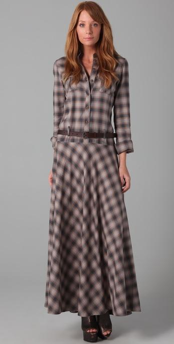 Lyst L A M B Maxi Plaid Dress In Brown
