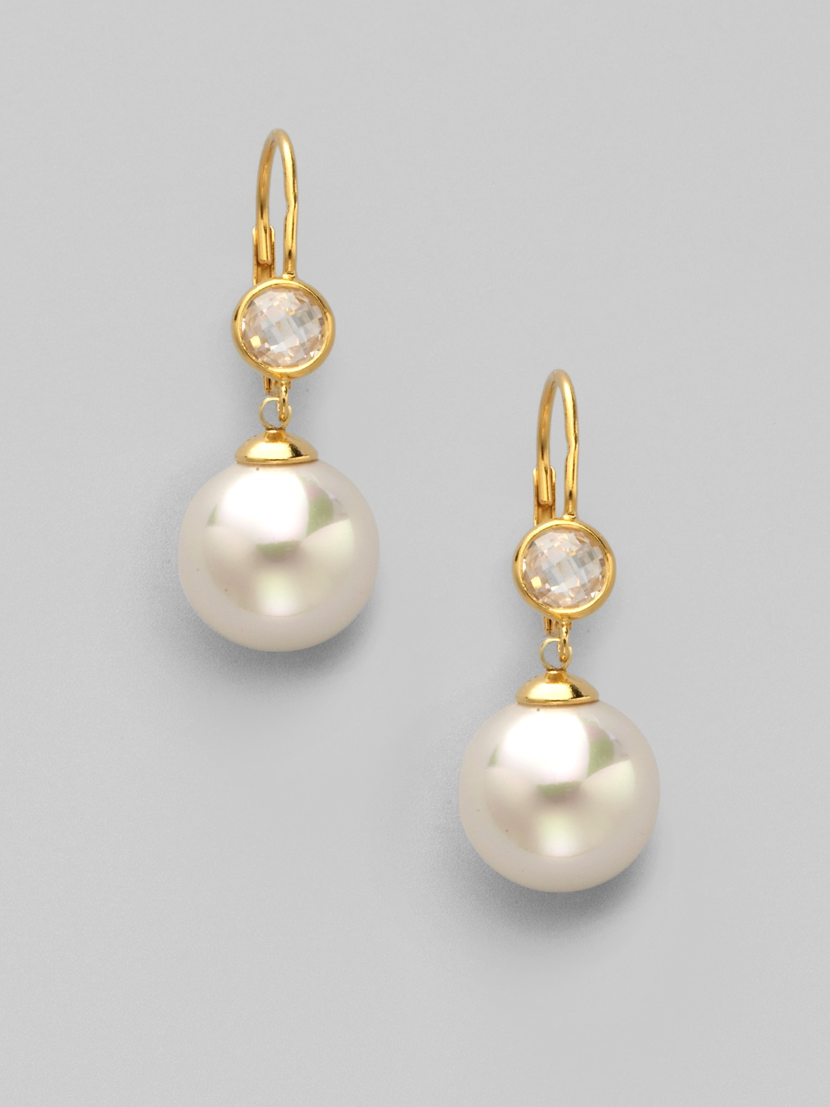 majorica pearl stud drop earrings in gold white lyst. Black Bedroom Furniture Sets. Home Design Ideas