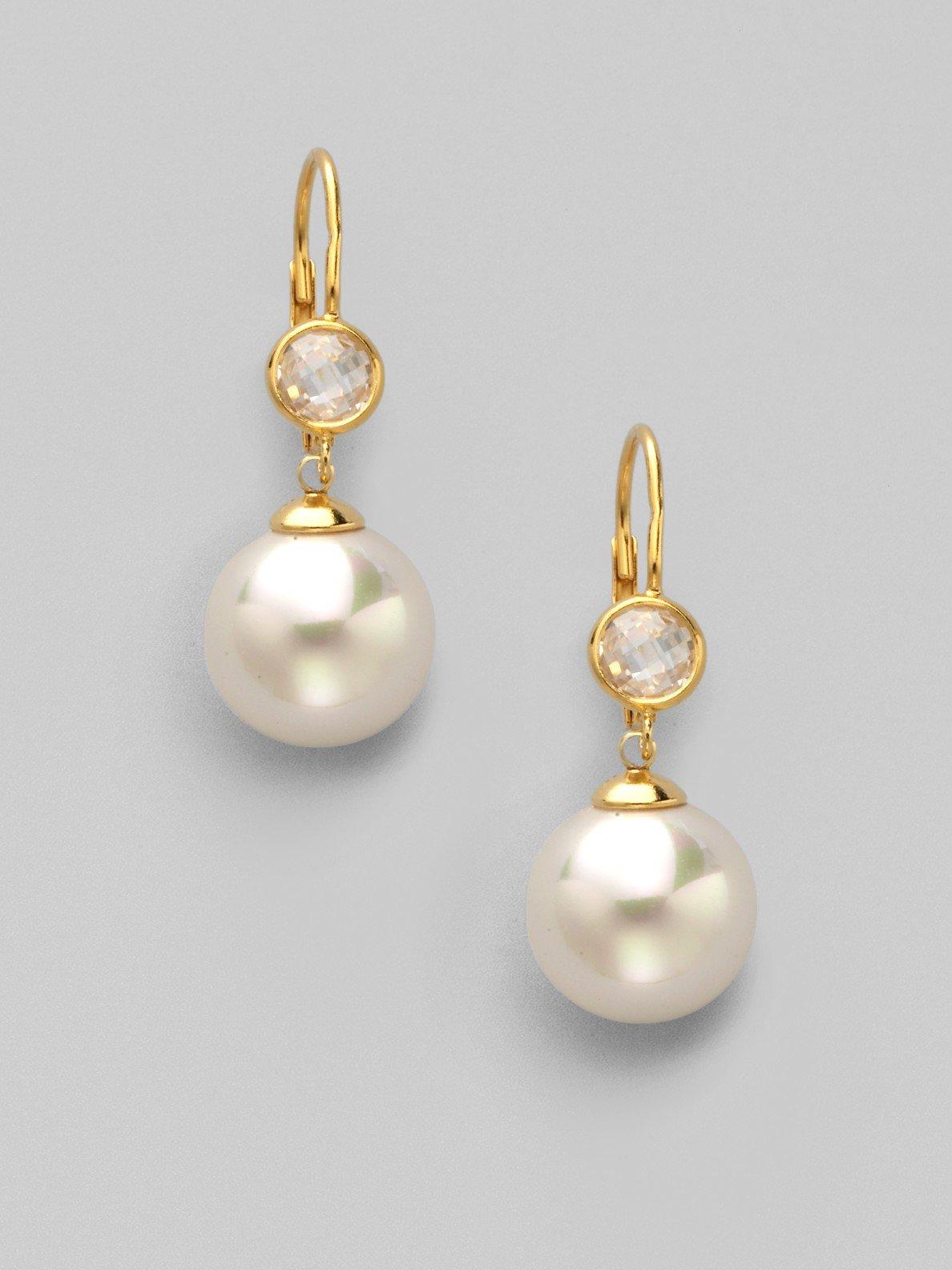Lyst Majorica Pearl Amp Stud Drop Earrings In Metallic