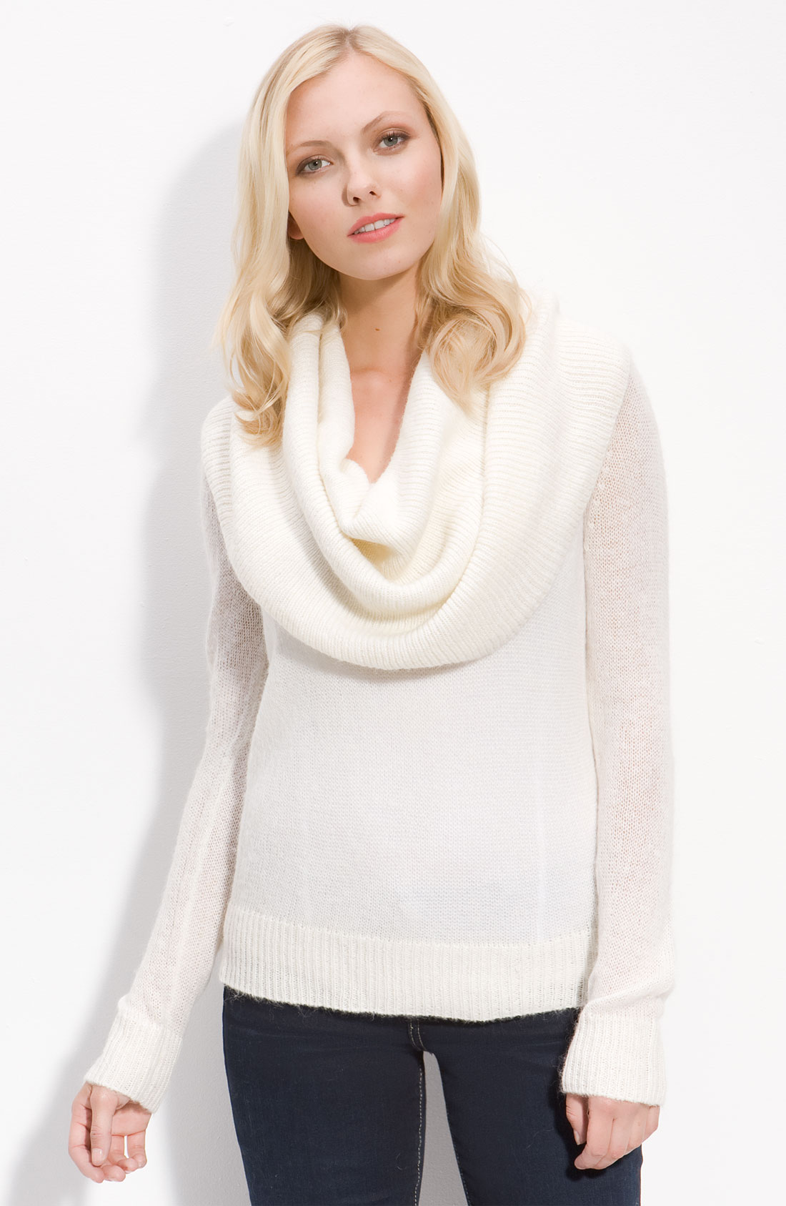 Michael michael kors Deep Cowl Neck Sweater in Natural | Lyst