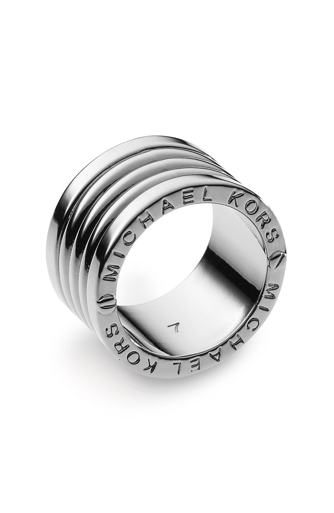 michael michael kors barrel ring silver in gray silver