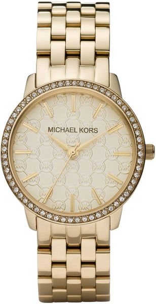 Michael Kors Golden Watch with Mk Logo and Glitz - Lyst