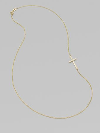 Mizuki 14k Yellow Gold & Diamond Side Cross Necklace - Lyst