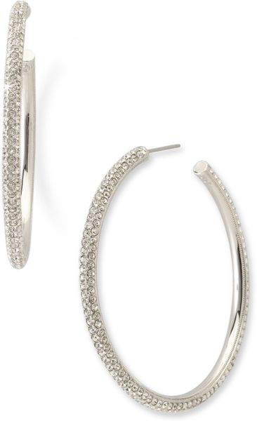 Nadri Large Pavé Crystal Hoop Earrings in Silver (rhodium) - Lyst