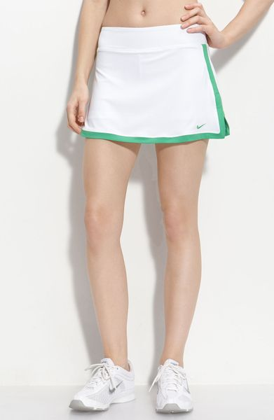 Nike Border Tennis Skirt in White (white/hyper verde) - Lyst