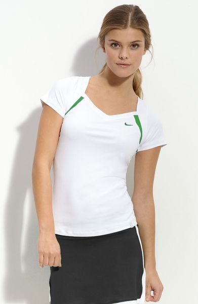 Nike Border Trim Tennis Tee in White (white/hyper verde) - Lyst