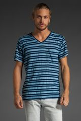 Obey American Striped V-neck Tee - Lyst