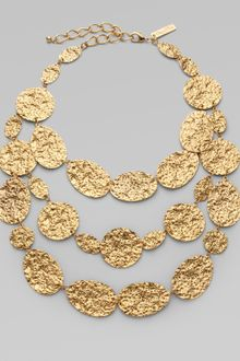 Oscar de la Renta Hammered Triple Strand Necklace - Lyst