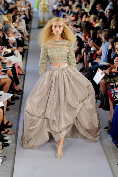 Oscar De La Renta Spring 2012 Metallic Crop Top  in Gold - Lyst