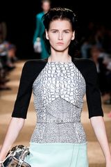 Proenza Schouler Spring 2012 KneeLength TwoPiece Dress With Knitted Sleeves in Multicolor - Lyst