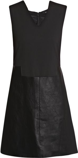 Raoul Leather and Wool Dress in Black