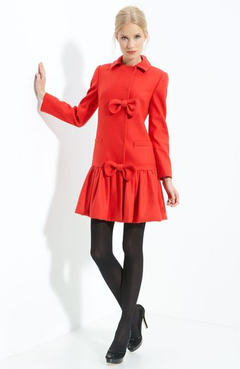 RED Valentino Ruffle Hem Wool Coat - Lyst