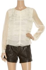 Robert Rodriguez Pleatfront Silkchiffon Blouse in White - Lyst