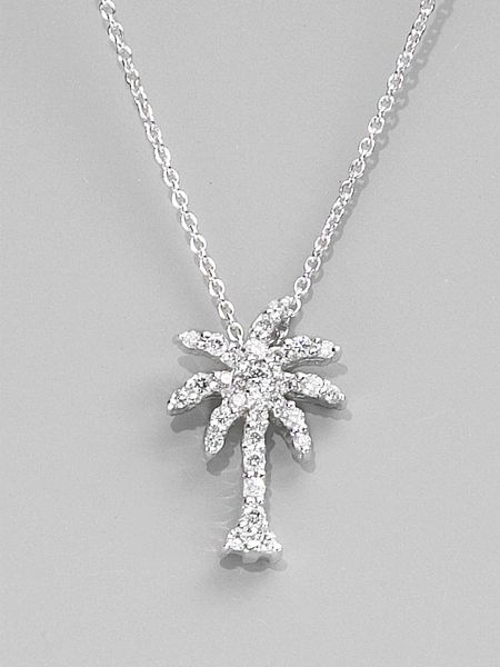 Roberto Coin Diamond & 18k White Gold Palm Tree Necklace in White - Lyst