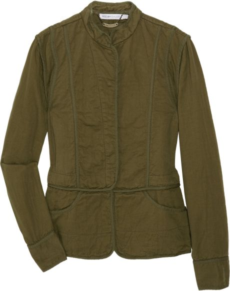See By Chloé Cottontwill Military Jacket in Green - Lyst