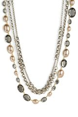 St. John Collection Faux Pearl & Glass Triple Strand Necklace - Lyst