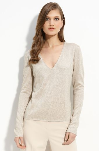 St. John Evening Fine Gauge Metallic Knit Sweater - Lyst