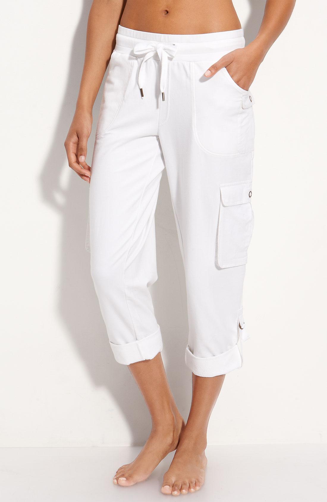 white capri cargo pants - Pi Pants